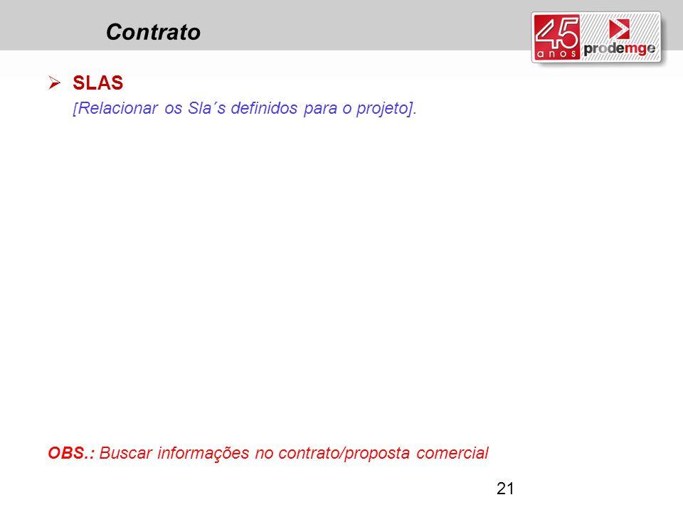 Contrato SLAS [Relacionar os Sla´s definidos para o projeto].